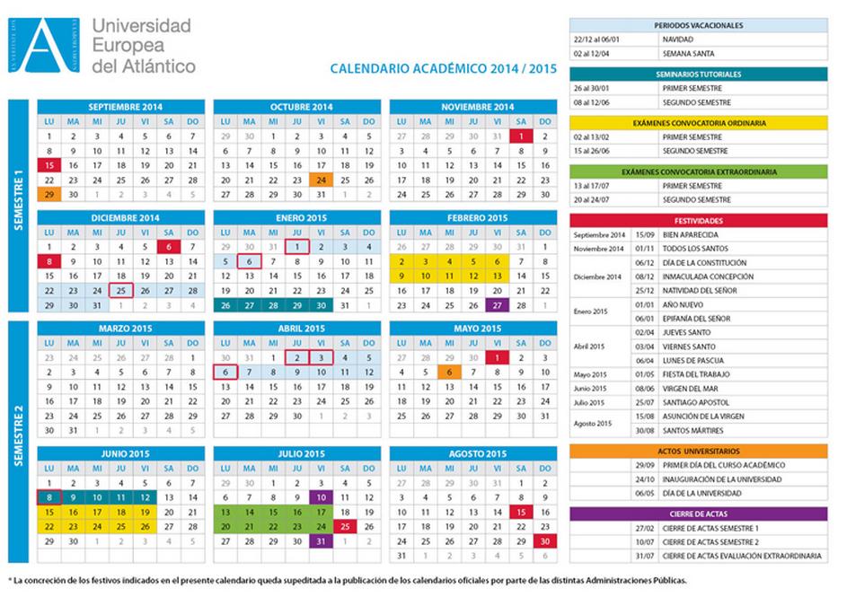 La Universidad Europea del Atlántico publica el calendario académico 2014-2015