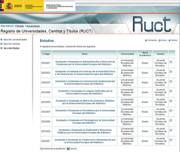El Ministerio de Educación publica en el RUCT los grados oficiales de la Universidad Europea del Atlántico