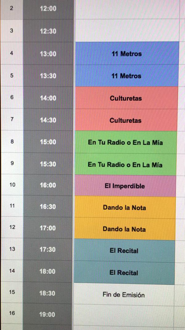 Parrilla de programación semanal de Uneatlantico Radio