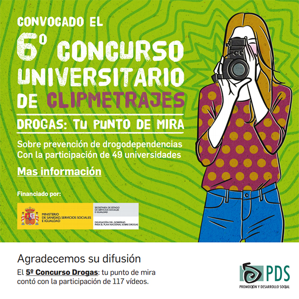 Cartel del 6º concurso universitario de clipmetrajes 'Drogas: Tu punto de mira'