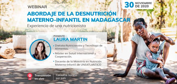 """UNEATLANTICO organiza el webinar """"Abordaje de la desnutrición materno-infantil en Madagascar: Experiencia de una nutricionista"""""""