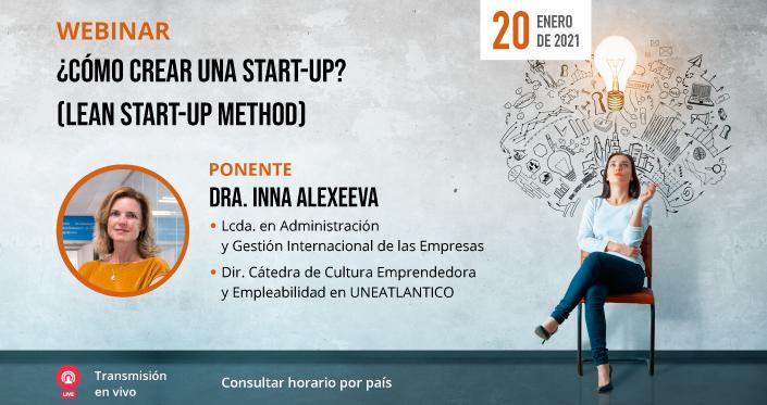 """UNEATLANTICO organiza el próximo 20 de enero el webinar """"Cómo crear una start-up (Lean start-up method)"""""""