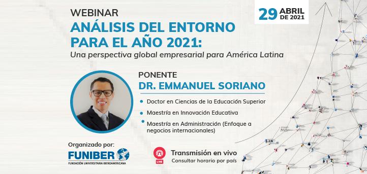 UNEATLANTICO organiza el webinar «Análisis del entorno para el año 2021:una perspectiva global empresarial para América Latina»